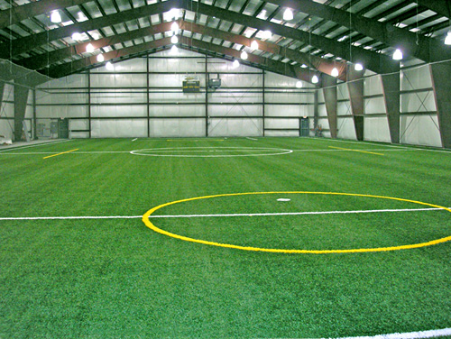 prefabricated soccer indoor sports arena made of steel